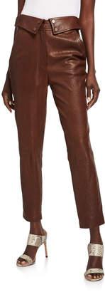 Veronica Beard Minerva Leather Ankle Pants