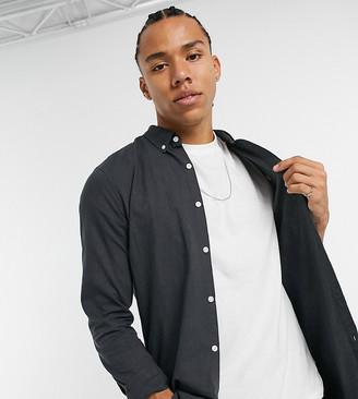 Farah Brewer slim fit logo oxford shirt in dark gray