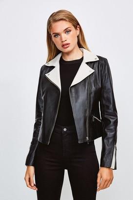 Karen Millen Leather Monochrome Signature Biker Jacket