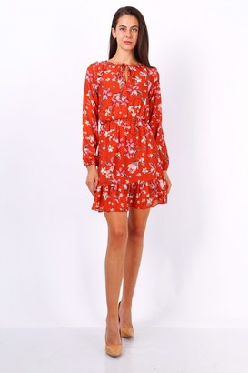 Lilura London Orange Floral Print Tie Neck Shift Dress