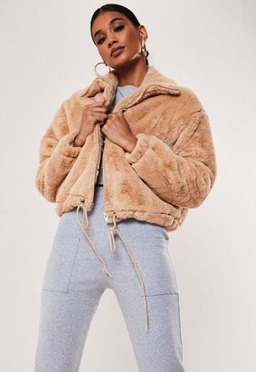 Missguided Camel Cropped Faux Fur Bomber Jacket