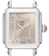 Michele Deco Madison Watch Head with Diamonds, Silver/Beige