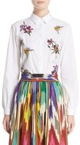 Etro Women's Bird & Floral Beaded Shirt