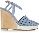Zoe Lee Scott Woven Light Blue Suede Wedge Sandal