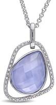 Catherine Malandrino Blue Agate And Diamond Pendant In Sterling Silver.