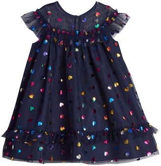 Pastourelle Foil Hearts Illusion Party Dress