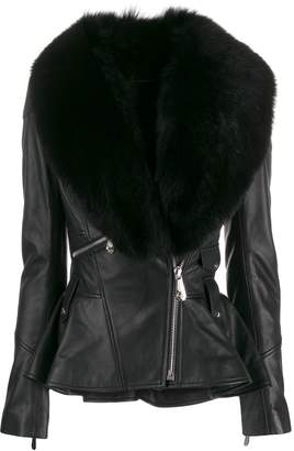 Philipp Plein fur collar leather jacket