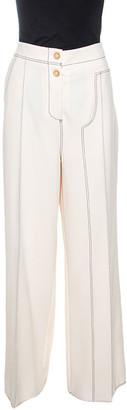 Joseph Cream Crepe Contrast Stitch Wide Leg Kirn Trousers M
