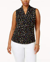 Anne Klein Plus Size Confetti-Print Top