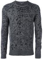 John Varvatos leopard jacquard pullover