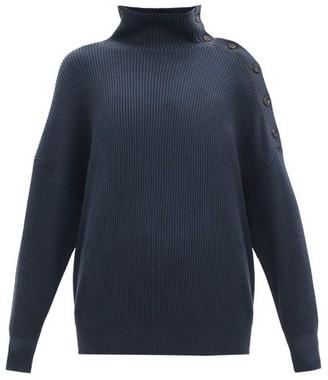 Brunello Cucinelli Rib-knit Cotton Roll-neck Sweater - Dark Blue