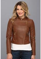 MICHAEL Michael Kors Leather Moto Polished Jacket Women's Coat