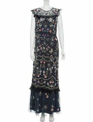 Needle & Thread Floral Print Long Dress Blue