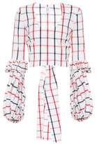 Rosie Assoulin PFFF checked cotton-blend top
