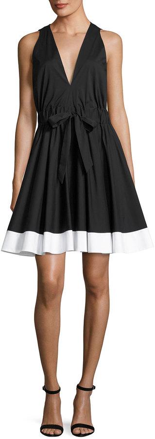 Milly Lola Sleeveless Colorblocked Poplin Dress, Black/White