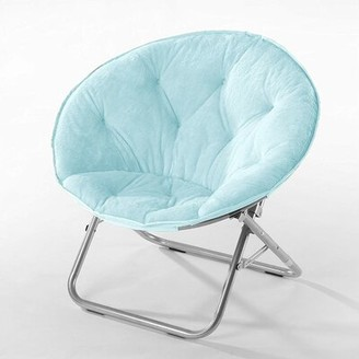 Fabric Padded Folding Chair Comfort Designs Color: Light Blue