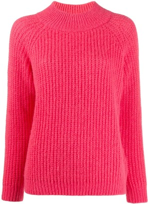 Peserico funnel neck ribbed knit sweater