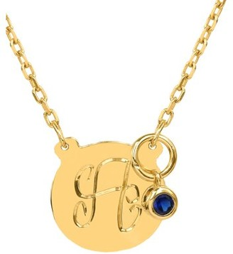 """Jay Aimee Designs 14K Yellow Gold over Sterling Silver 5/8"""" Disc Necklace. Hand Engraved with a Single Capital Initial including a Drop Birthstone Bezel Set, all on an 18"""" Link Chain"""