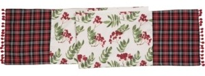 Transpac Trans Pac Red Christmas Plaid Table Runner