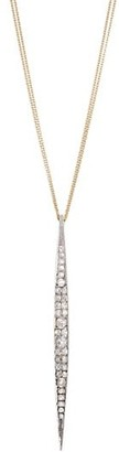 Renee Lewis 18K Yellow Gold, Platinum Antique Diamond Bar Pendant Necklace