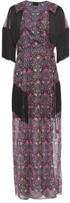 Anna Sui Fringed Metallic Printed Chiffon Maxi Wrap Dress