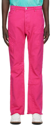 we11done Pink Embossed Semi-Boot Cut Trouser