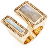 Maiyet 18K Yellow Gold, Labradorite & 0.80 Total Ct. Diamond Geometric Divided Sculpt Ring