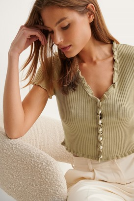 NA-KD Pearl Detail Knitted Short Sleeve Cardigan