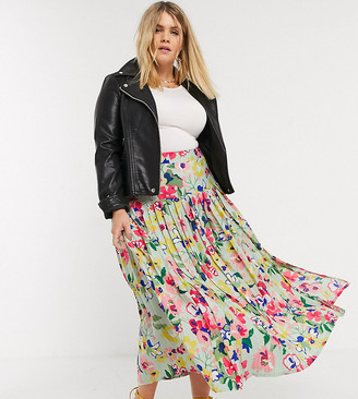 Neon Rose Plus midaxi pleated skirt with drop waist in vintage floral