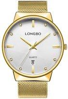 LONGBO Luxury Men's Metal Mesh Strap Analog Quartz Business Watch Auto Date Calendar Couple Dress Watch Waterproof Rhinestone Accented Dial Wristwatch For Man