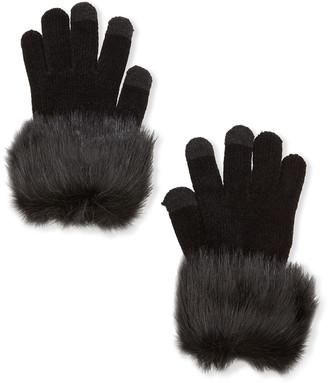 Fabulous Furs Tech Gloves with Faux Fur Trim
