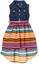 Dollhouse Dark Blue & Pink Stripes Denim Sleeveless Dress - Toddler & Girls