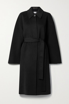 Acne Studios Belted Wool-felt Coat - Black