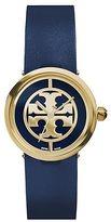 Tory Burch Reva Watch, Navy Leather/Gold-Tone, 28 Mm