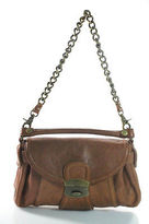 Kooba Brown Leather Chain Detail Shoulder Handbag Size Small