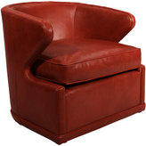 Horchow Dyna St. Clair Red Leather Swivel Chair