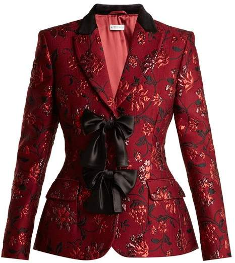 Altuzarra Angela Single Breasted Floral Brocade Blazer - Womens - Burgundy Print