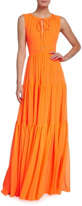 Halpern Georgette Split-Neck Tiered Gown