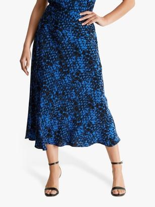 Fenn Wright Manson Petite Georgine Animal Print Midi Skirt, Blue