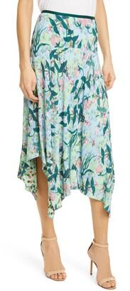 Diane von Furstenberg Aileen Reversible Floral Print Shark Bite Hem Skirt