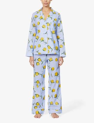 Yolke Classic lemon-print cotton-poplin pyjama set
