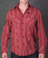 Rebel Spirit Red Stripe Fleur-de-Lis Embroidery Button-Up - Men's Regular