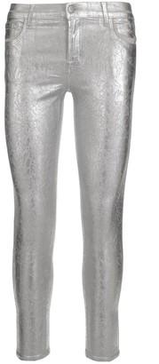 J Brand Metallic Cropped Skinny Jeans