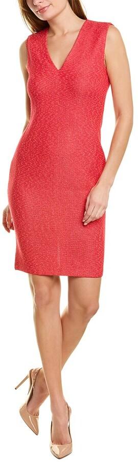 St. John V-Neck Wool-Blend Sheath Dress
