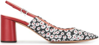 Rochas Daisy Print Pointed Slingback Shoes