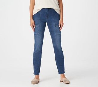 Susan Graver Petite High Stretch Denim Zip-Front Ankle Jeans