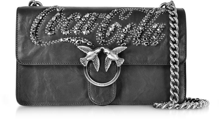 Pinko Love Trilogy Black Leather Shoulder Bag