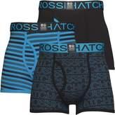 Crosshatch Mens Borderline Three Pack Boxers Black/Malibu Blue