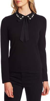 CeCe Embellished Collar Tie Neck Sweater