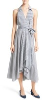 Milly Women's Stripe Midi Wrap Dress
